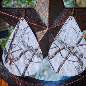 """Winter Woodlands"" Faux Leather Teardrop Earrings"